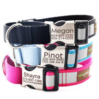 Engraved Buckle Reflective Webbing Personalized Dog Collar
