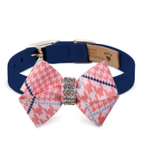 Susan Lanci Peaches N' Cream Glen Houndstooth Nouveau Bow Collar