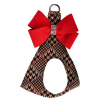 Susan Lanci Chocolate Glen Houndstooth Nouveau Bow Step In Harness