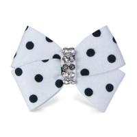 Susan Lanci Black and White Polkadot Nouveau Bow Hair Bow