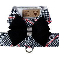 Susan Lanci Classic Glen Houndstooth Black Nouveau Bow Tinkie Harness