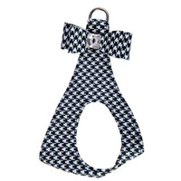 Susan Lanci Black & White Houndstooth Big Bow Step In Harness