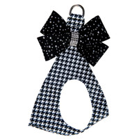Susan Lanci Black & White Houndstooth Silver Stardust Nouveu Bow Step in Harness