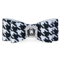 Susan Lanci Black & White Houndstooth Big Bow Hair Bow