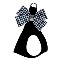 Susan Lanci Black & White Houndstooth Nouveau Bow Step In Harness