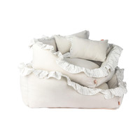 Linen Ruffle Cushion - Gray
