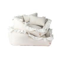 Linen Ruffle Cushion - Gray