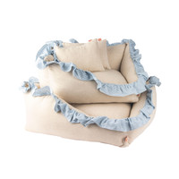 Linen Ruffle Cushion - Stripe