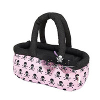 Pink And Skull Basket Pet Carrier