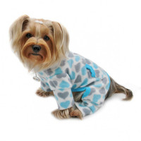 Blue and Gray Hearts Fleece Turtleneck Pajamas