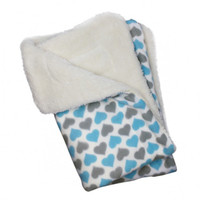 Blue and Gray Hearts Fleece/Ultra-Plush Blanket
