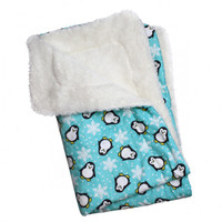 Penguins & Snowflakes Flannel/Ultra-Plush Blanket - Turquoise