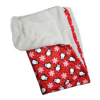 Penguins & Snowflakes Flannel/Ultra-Plush Blanket - Red
