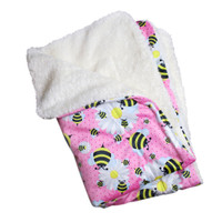 Ultra Soft Minky Bumblebees And Flowers Dog Blanket