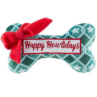 Happy Howlidays Bone Toy - Green Stars