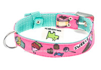 Candy Shop Textile Dog Collar - Pink