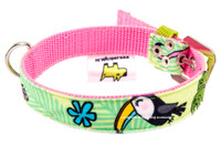 Toucan Green Textile Dog Collar