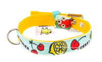 Fruits Blue Textile Dog Collar