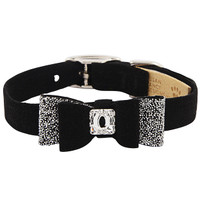 Susan Lanci Black Crystal Stellar Big Bow Ultrasuede Collar