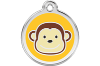 Monkey Stainless Steel Enamel ID Tag