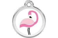 Flamingo Stainless Steel Enamel ID Tag