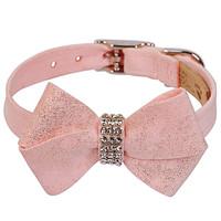 Susan Lanci Puppy Pink Glitzerati Nouveau Bow Collar