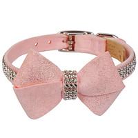 Susan Lanci Puppy Pink Glitzerati Nouveau Bow 3 Row Giltmore Collar