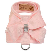 Susan Lanci Puppy Pink Glitzerati Nouveau Bow Tinkie Harness with Puppy Pink Trim