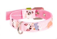 Dogs in Pink Textile Collar