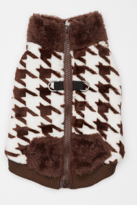 Butter Fleece Dog Vest - Brown Houndstooth