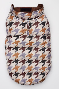 Flex-Fit Reversible Puffer Vest - Brown/Houndstooth