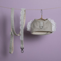 Louisdog Natural Linen Harness Set