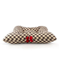 Susan Lanci Windsor Check Square Bed with Red Nouveau Bow