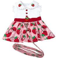 Strawberry Picnic Dog Dress with Matching Leash