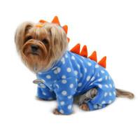 Polka Dots Dino Fleece Hooded Pajamas