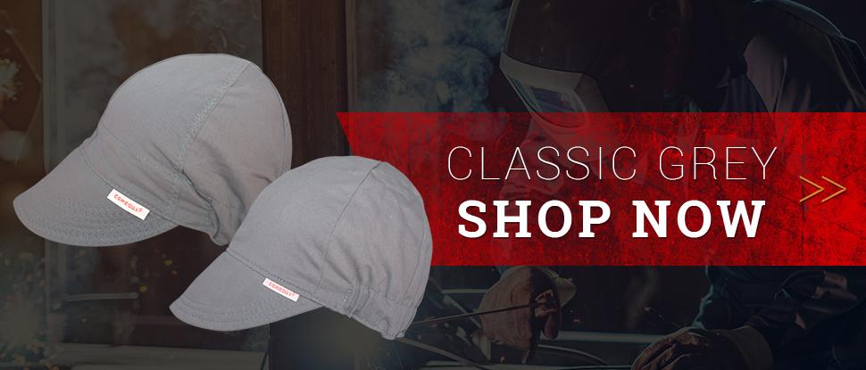 Classic Solid Grey Welding Caps - Shop Now