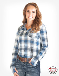 PULLOVER BUTTON-UP (BLUE PLAID)