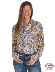 PULLOVER BUTTON-UP (BROWN, CREAM, AND BLUE LEOPARD PRINT)