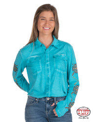 PULLOVER BUTTON-UP (TURQUOISE AND GEOMETRIC PRINT)