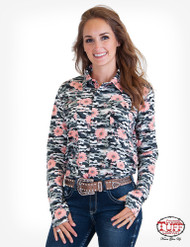 GRAY CAMO FLORAL SPORT JERSEY PULLOVER BUTTON UP