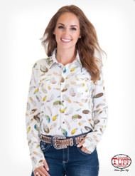 CREAM FEATHER PRINT SPORT JERSEY PULLOVER BUTTON UP