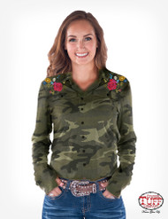 PULLOVER BUTTON-UP (CAMO AND FLORAL EMBROIDERY)