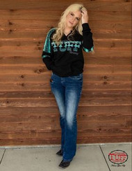 BLACK V-NECK PULLOVER SWEATSHIRT W/ TURQUOISE AZTEC PANELS & CTC EMBROIDERY