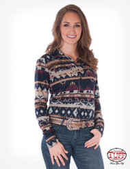 PULLOVER BUTTON-UP (NAVY AZTEC)