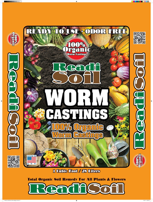Readi Soil worm castings offer a safe, organic, NATURAL method to reinvigorate soil.  More advanced than plain compost, and infinitely more eco-friendly than synthetic fertilizers.  The worms are raised  in the on peat moss beds and fed NON-GMO corn silage. No animal by products are in the diet.   Worm castings are dry, odorless, do not burn, and are safe and non- toxic to people and pets.  Castings reduce acid forming carbon, increase nitrogen levels, texturizes and breaks up hard soil and retains moisture and nutrients for optimum plant growth.  Ideally suited for growing fruits and vegetables for your family, as well as flowers and ornamental landscaping.   Made in the USA  Readi Soil worm castings: One of Mother Nature's age old, chemical free secrets!
