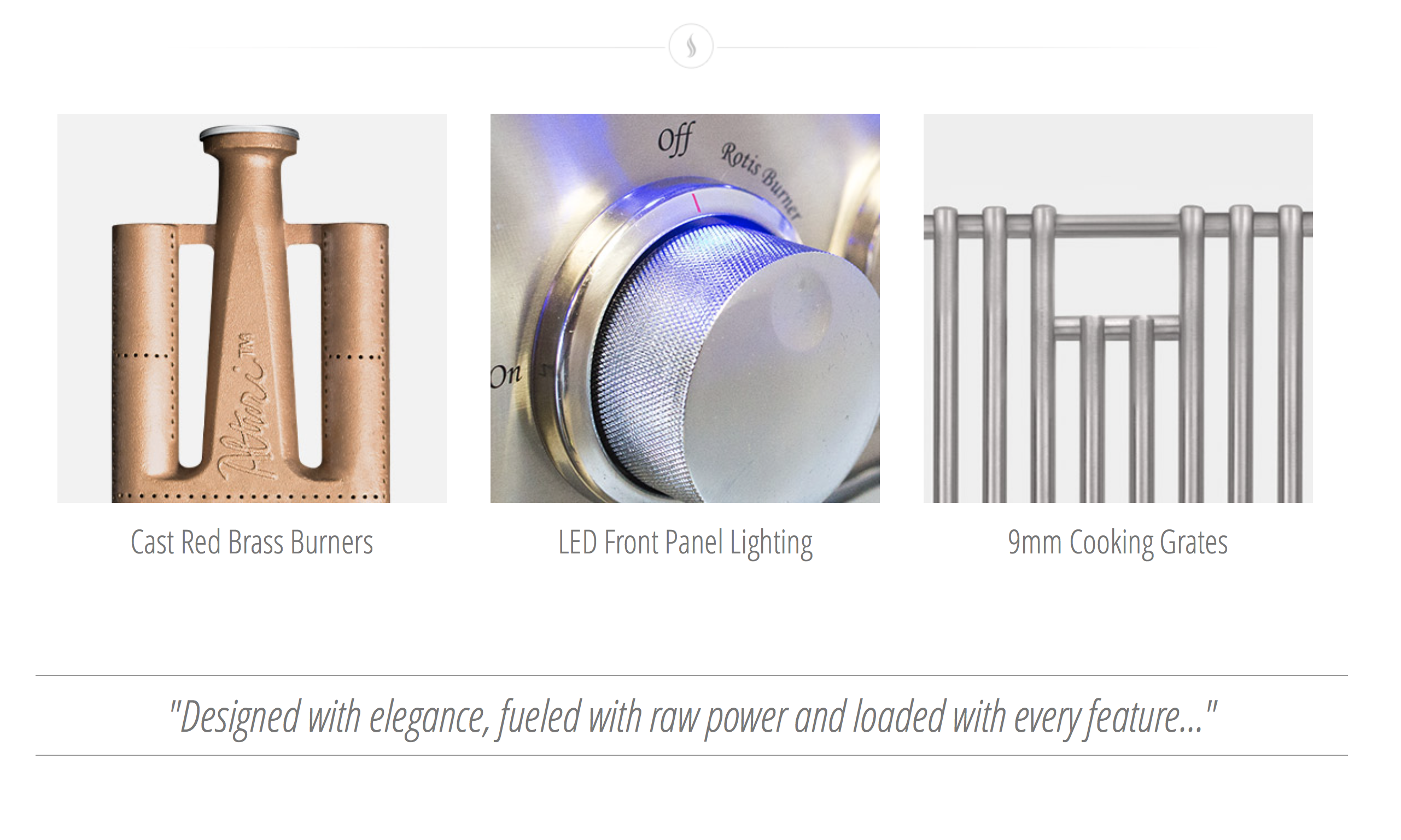 summerset alturi features include red brass burners, 9mm cooking grates, and led lighting