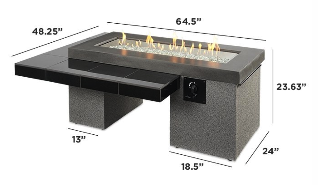 Outdoor Greatroom Black Uptown Linear Gas Fire Pit Table Embers