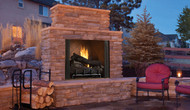 "Superior Mosaic Masonry 50"" Outdoor Vent-Free Fireplace - Warm Red/Ivory Full Stacked Brick"