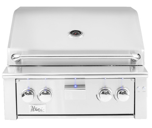 """Summerset brings class and luxury with the 30"""" alturi built in gas grill, featuring red brass burners, smoker tray, standard rotisserie, and LED lighting"""