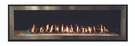 Empire Boulevard 48 inch Linear Direct Vent Fireplace - DVLL48 Shown with Porcelain Reflective liner, Clear Front Glass, LK8 LED Lighting, Brushed Nickel Surround.